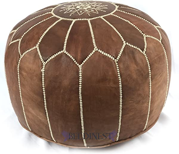 Stuffed Moroccan Dark Tan Leather Poufs Handmade Leather Ottoman Pouffe Hassock Tuffet Foot Stool Seating Foot Rest