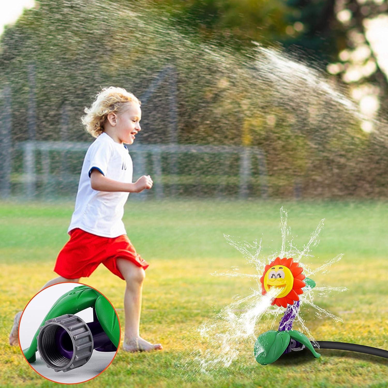 FiGoal Kids Sprinkler Outdoor Water Activity Spray Sprinkler for Toddlers Boys and Girls-Spinning Spray Sprinkler for Backyard Splash Games Courtyard Swirl Water Game for Summer Piranha