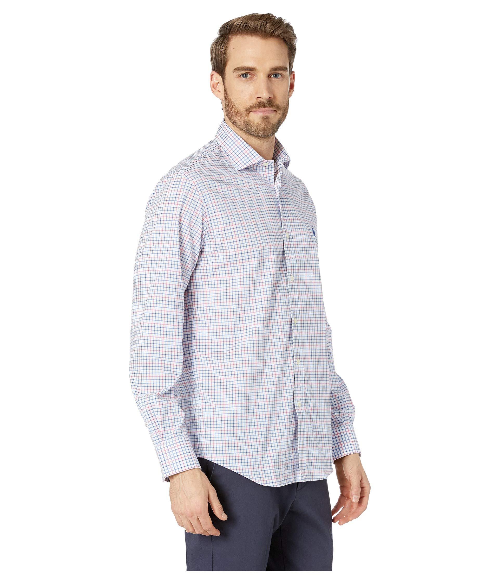 Fit Classic Shirt Polo Long navy Printed Ralph Sleeve Sport Blush Lauren Poplin H0RaYq0w