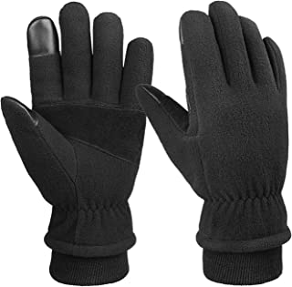 Bessteven Mens Winter Gloves-20°F Cold Proof Warm Glove Thermal Polar Fleece Water Wind Resistant for Cycling Running Driving Shoveling
