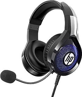 HP Auriculares estéreo para PC con micrófono, auriculares sobre la oreja con iluminación RGB, diseño ergonómico para PS5, PS4, Xbox One, Nintendo Switch, PC, ordenador portátil, color negro