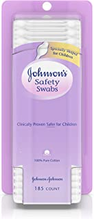 Johnson's Safety Ear Swabs for Babies & Children made with Non-Chlorine Bleached Cotton, 185 count