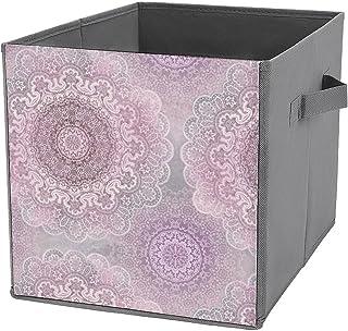 Boîtes de rangement pliables en forme de cube mauve, motif cachemire, mandala, durables avec poignées de transport pour ma...