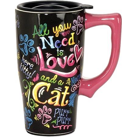 Spoontiques Taza de viaje de cerámica, diseño de gato, 18 onzas, multicolor