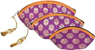 Handgefertigte, antike Seiden-Kosmetiktäschchen, indisch hergestellte börse, Clutch, Organza-Tasche mit ethnischem Desig...