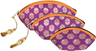 Handmade Antique Silk Vanity Pouches Indian Made Purse Clutch Organza Bag with Ethnic design Wedding Gift (Set of three)