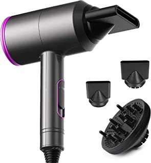 1875W Professional Salon Infrared Hair Dryer for Faster Drying, Negative Ion Hair Blow Dryer with 3 Speed and 3 Heat Setting Hair Dryer,AC Motor Blow dryer with Diffuser &Concentrator (BLACK)