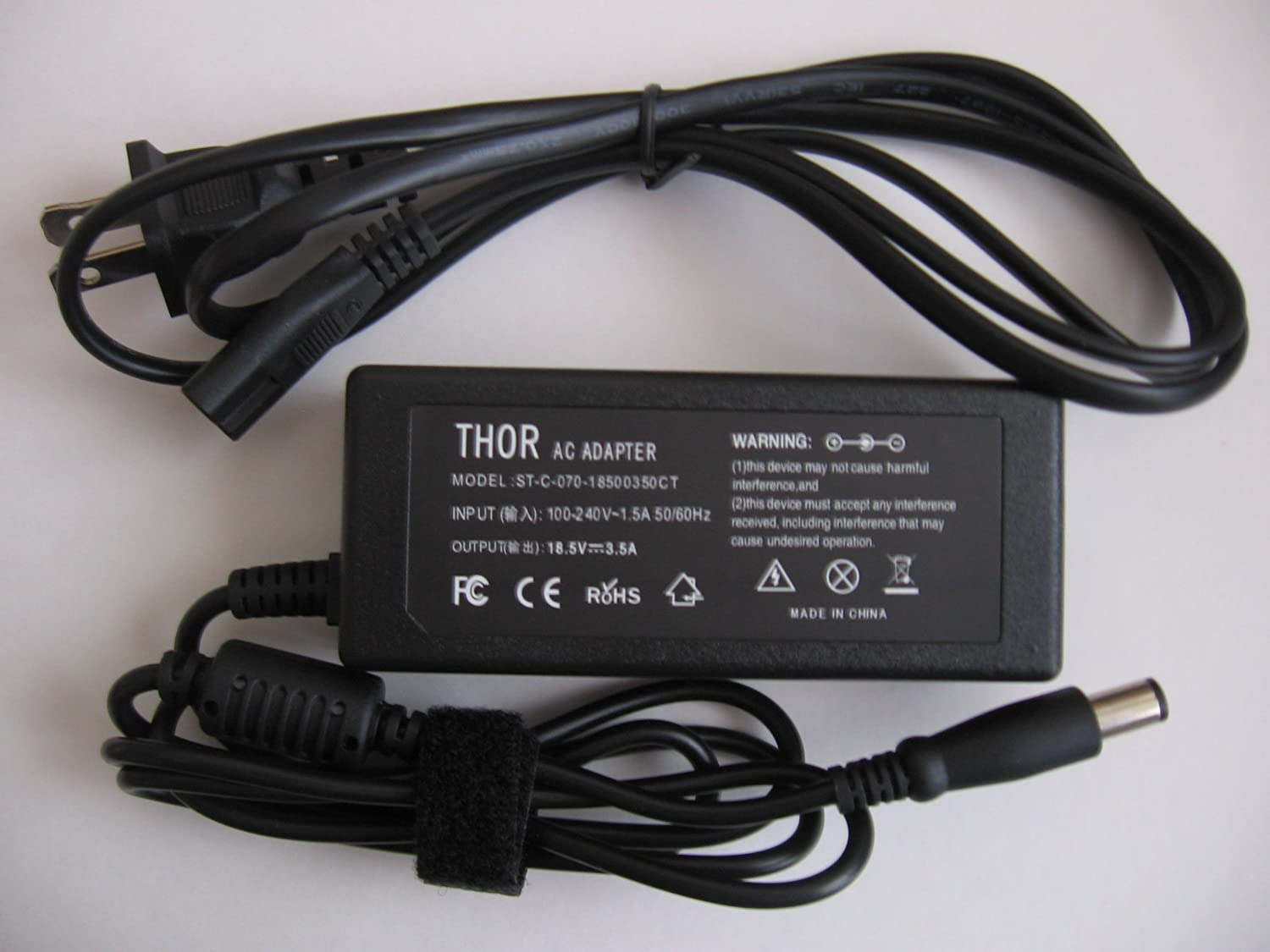 Thor Brand Replacement Plug for Hp Elitebook Laptop Pc Ac Power Adapter for Computer Model: 2540p 2740p 8440p 8440w 8530w 8530p 8540p 8540w 8730w 8740w Power Cord Charger Plug