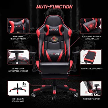 Ficmax High-Back Gaming Chair Racing Style Office Chair Recliner Computer Chair for Gaming PU Leather Ergonomic E-Sports Chai