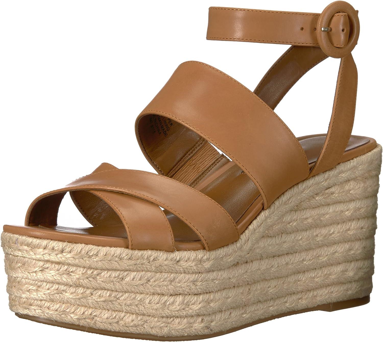 Nine West Womens Kushala Leather Wedge Sandal