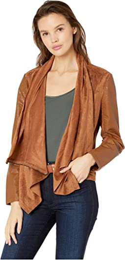 Faux Suede Drape Front Jacket in Coffe Bean