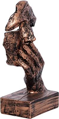 Webelkart Poly Resin Human Face Sculptures Showpieces Creative Traditional Idea with Modern Theme Abstract Design Art Figurines for Home Living Room Decorative Display (Copper Color)