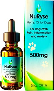 NuRyse Hemp Oil Extract Drops for Dogs: Calming Dog Anxiety & Stress Relief Supplement to Promote Composure - Anti Inflammatory Aid for Pets with Joint Pain & Arthritis