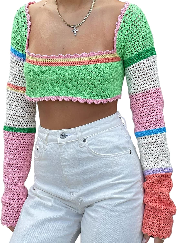 Women's Knitted Long Sleeve Bolero Shrugs Shawl Fashion Contrast Crochet Open Cardigan Arm Sleeves y2k Clothes