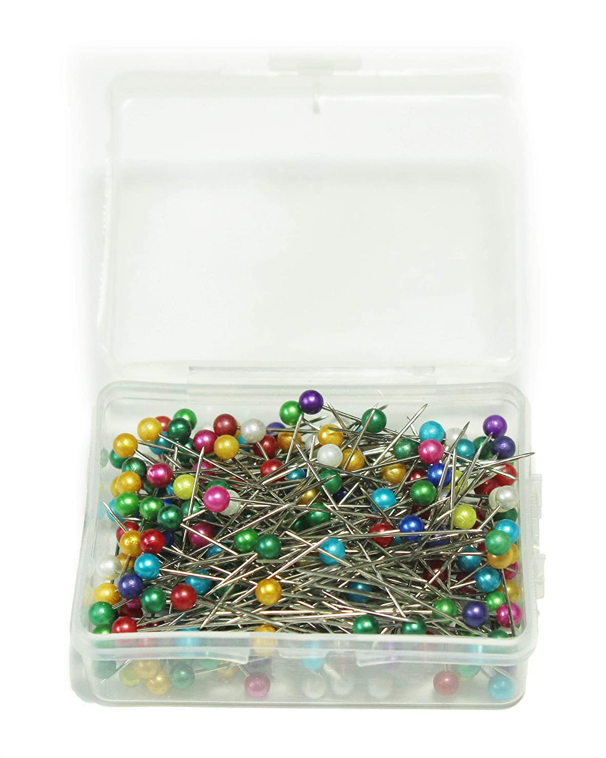 ALL in ONE 250pcs Mixed Color Sewing Pins Pearl Ball Head Pins Straight Pins Quilting Pins for Dressmaker with Box