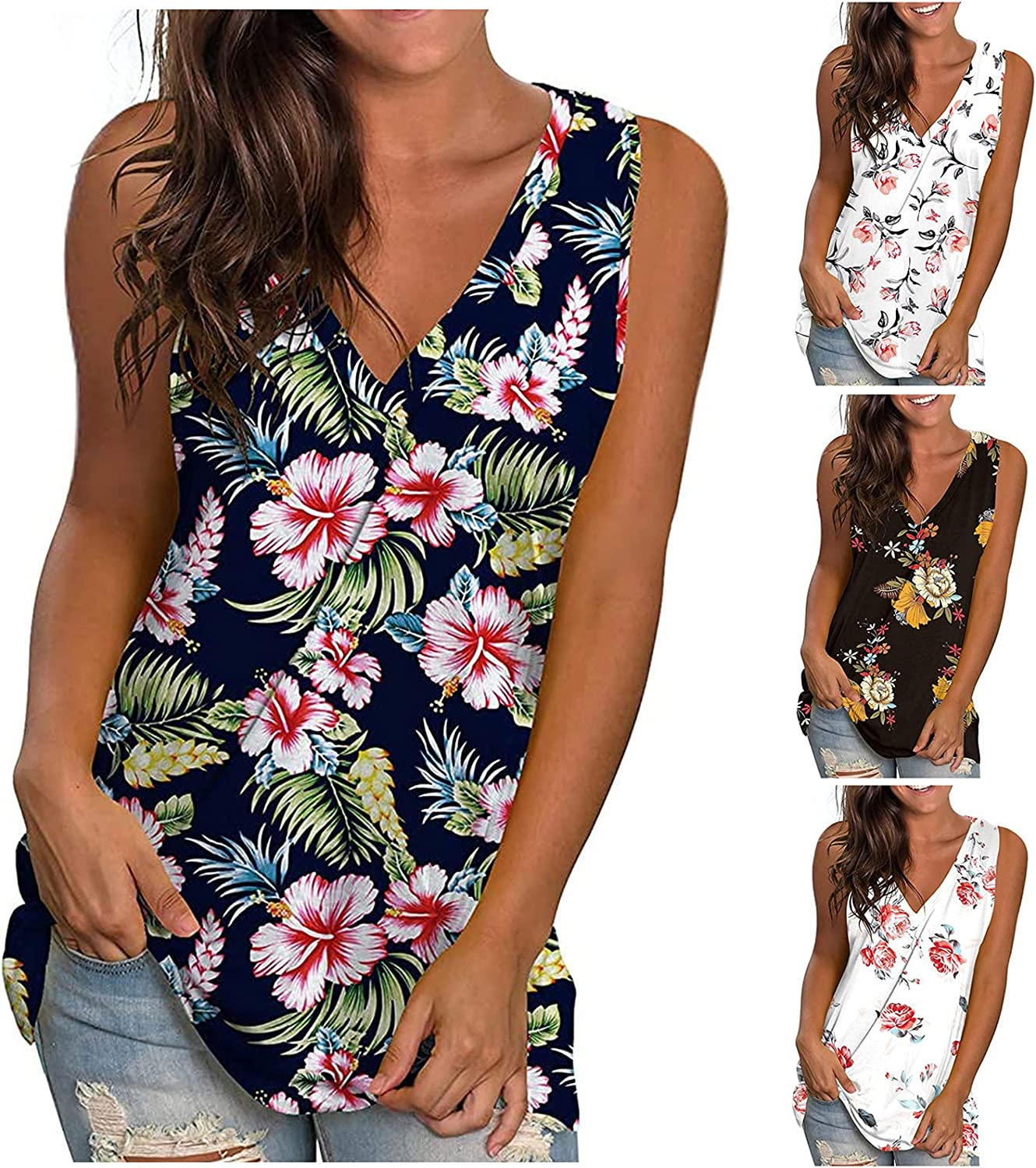Summer Tops for Women,Womens Floral Printed Cute Summer Tops Loose Fit Plus Size Casual T-Shirts