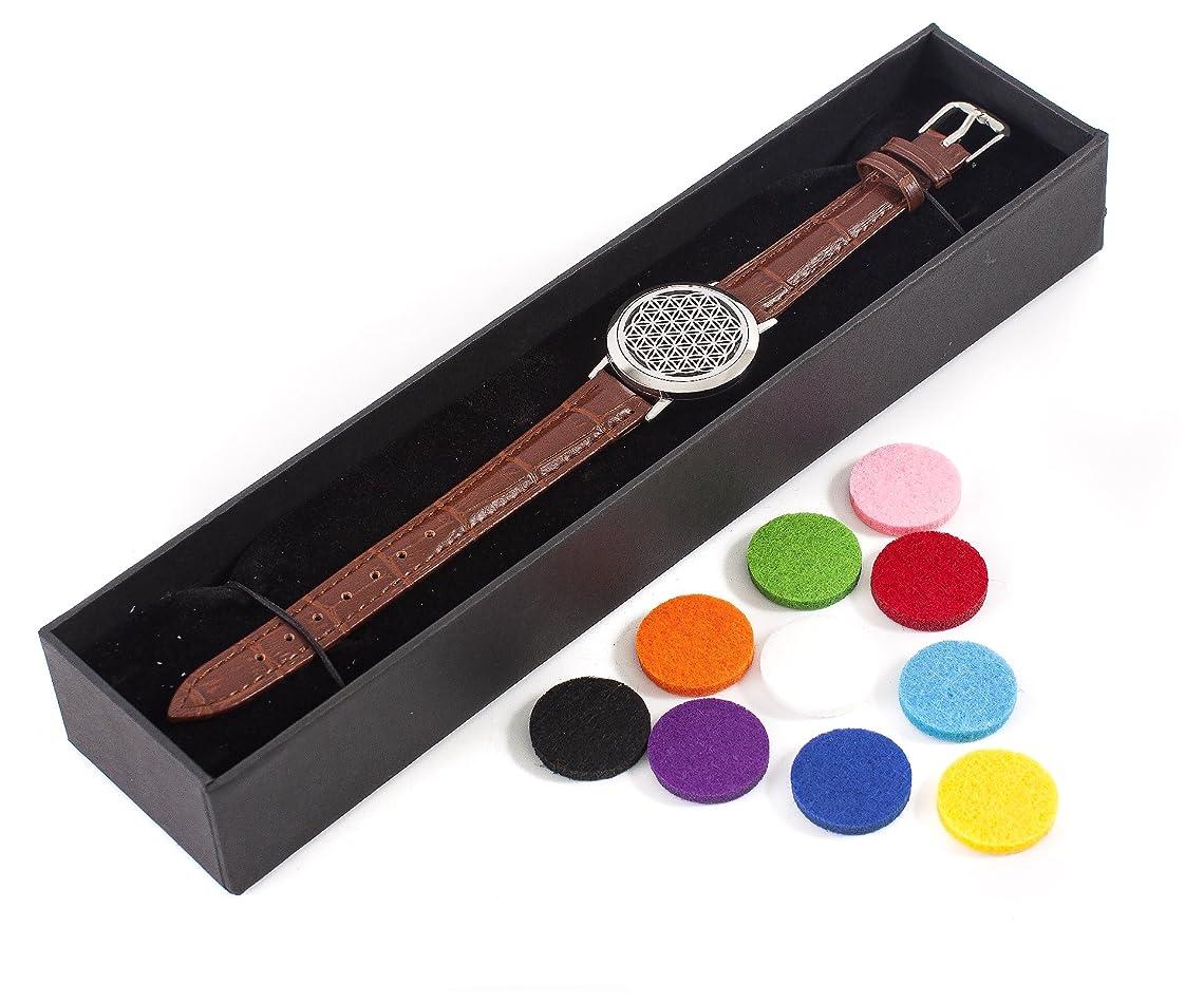 欠伸一月びっくりするMystic Moments | Flower of Life | Aromatherapy Oil Diffuser Bracelet with Adjustable Brown Leather Strap