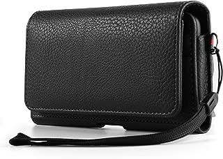 PU Leather Horizontal Belt Loop Holster for Motorola G5s Plus / G5 Plus / OnePlus 5 / OnePlus 3T / Huawei Nova 2 Plus / P10 Plus / Honor 9 / 8 Pro / Mate 8 9 / Nokia 5 6 8 (Black)