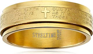 Steeltime Men's 18k Gold Plated Our Father Prayer Spinner Band Ring