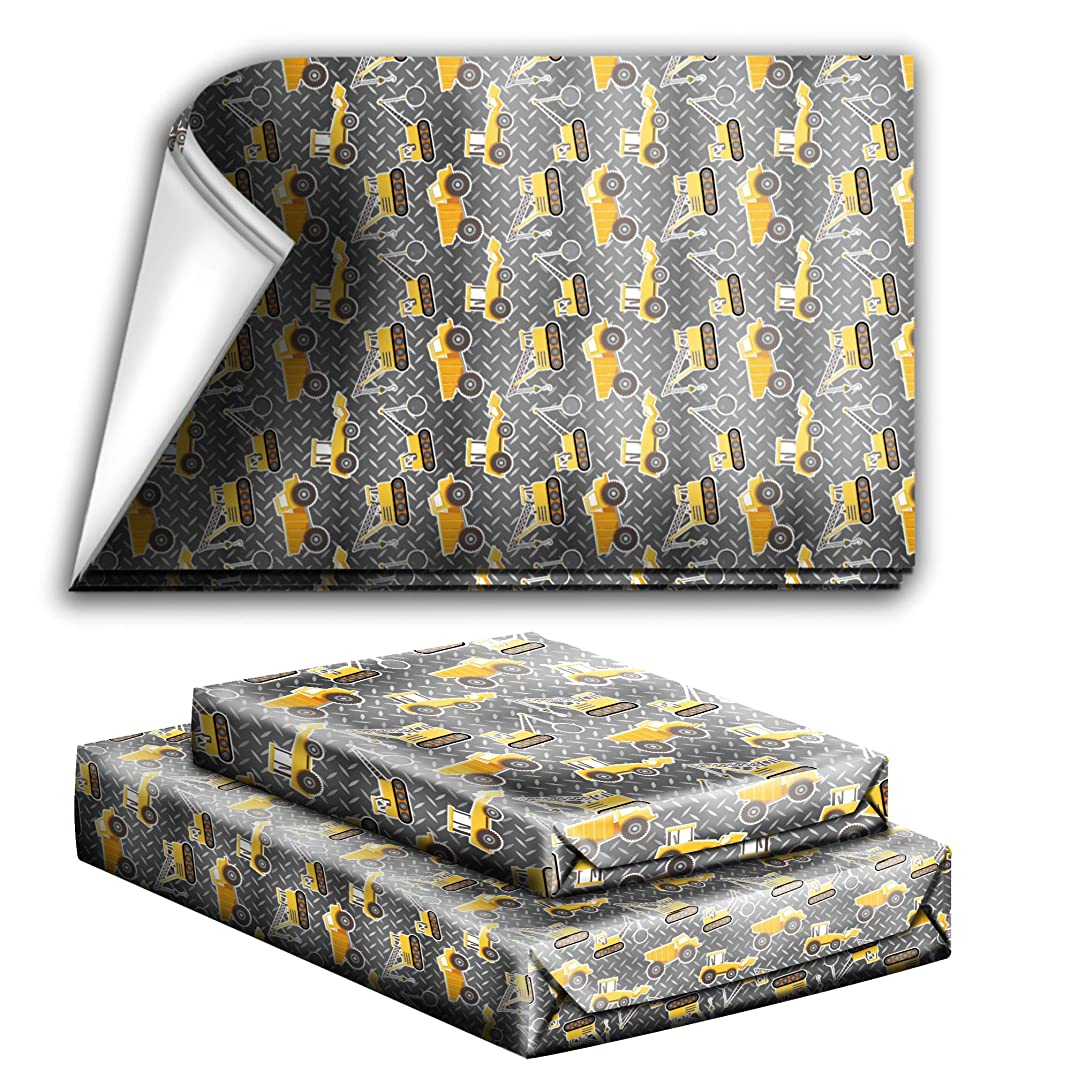 Construction Trucks Birthday Party Holiday Wrapping Paper Gift Wrap Premium Quality Paper