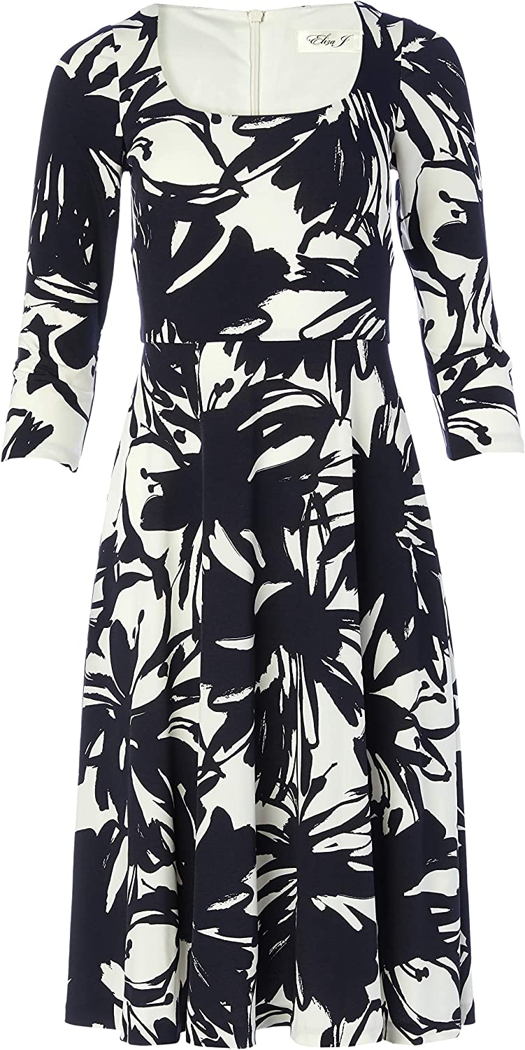 Eliza J Women's 3/4 Sleeve Scoop Neck Printed Fit and Flare Dress