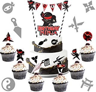 32 Pieces Warrior Happy Birthday Cake Decorations Include Mini Warrior Banner 1 Warrior Birthday Cake Banner Topper and 30...