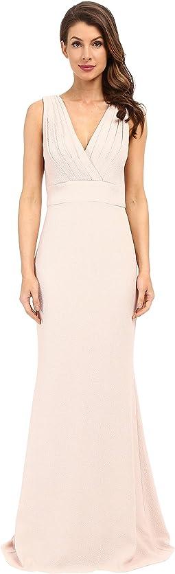 Foil Crepe V-Neck Dress
