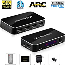 HDMI Switch 4x1 4K@60Hz, NEWPOWER 4 In 1 Out HDMI Switch with IR Wireless Remote and Audio Out, Max Bandwidth of 18Gbps, Support PS4/ Blu-ray DVD PC/ Apple TV/ Macbook