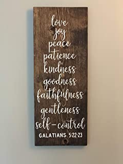 Galatians 5:22-23, Fruit of The Spirit, Scripture Sign, Biblical Sign, Religious Sign, Christian Sign, Farmhouse Style Sign Wooden Sign Crafts for Living Room Decorative