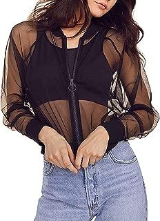 Womens Long Sleeve Mesh Sheer Zip up Bomber Jacket Trench Coat.