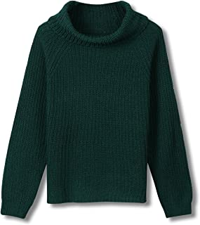 Clothink Women Dark Green Plain Casual Cable Knit Oversized Pullover Sweater