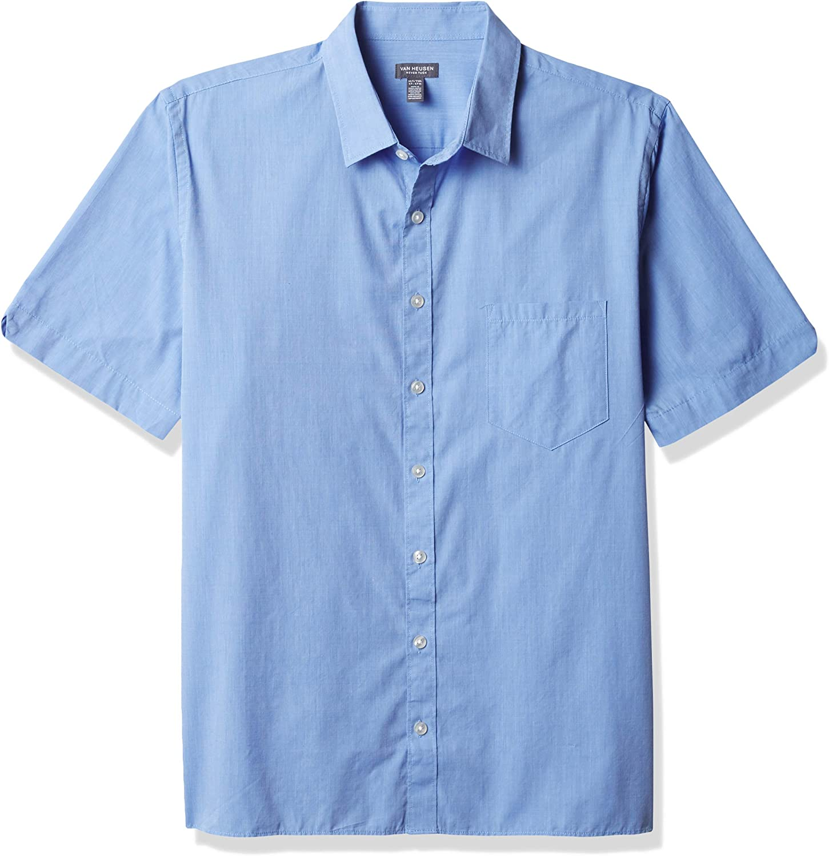 Van Heusen Men's Big & Tall Big and Tall Never Tuck Short Sleeve Button Down Shirt