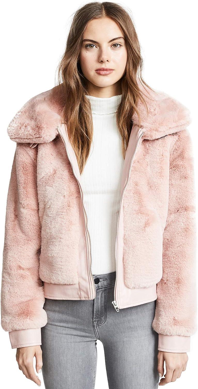 [BLANKNYC] Blank Denim Women's Faux Fur Vegan Leather Bomber Jacket