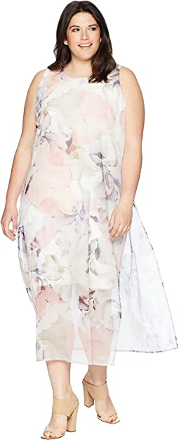 Plus Size Sleeveless Diffused Blooms Knit Underlay Dress