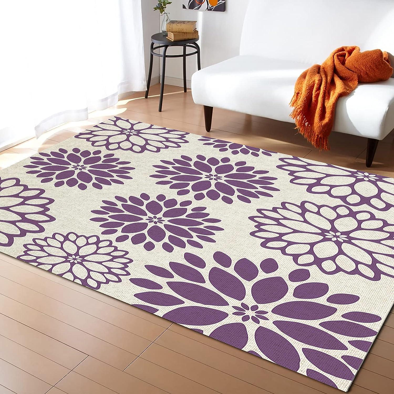 ARTSHOWING Flower New sales Area Rug Decorative for Atlanta Mall Livi Non-Slip Carpets