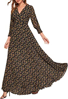 Womens Retro Floral Velvet Loose Long Sleeve Maxi Dress Round neck Dress NEW