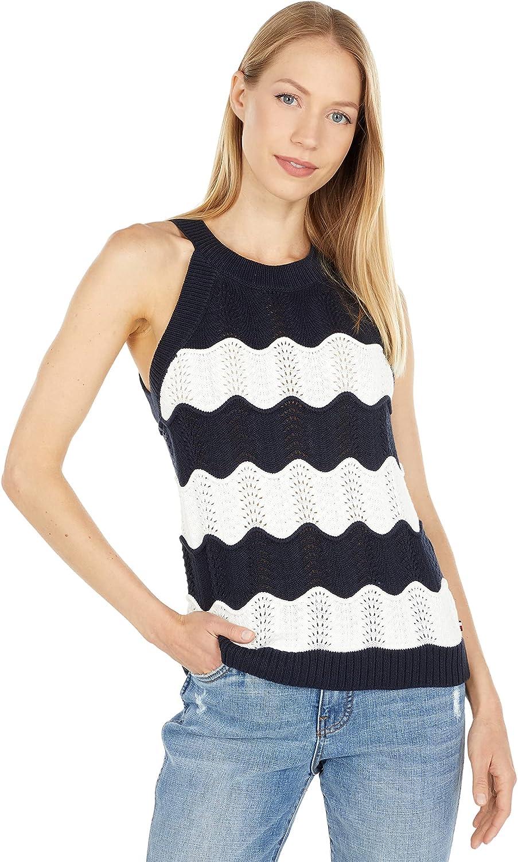 Tommy Hilfiger Scallop Stripe Sleeveless Sweater