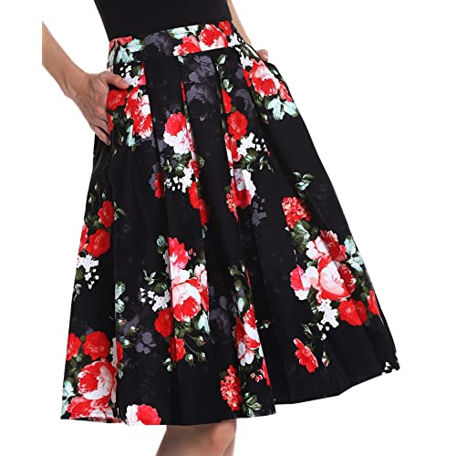 244d7bd3cf Yige Women's Vintage High Waist Flared Skirt Pleated Floral Print Midi Skirt  with Pocket