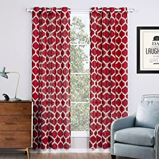 Jaoul Linen Textured Semi Sheer Curtains for Living Room Bedroom Geometric Moroccan Lattice Print Grommet Voile Drapes, 52 x 63 Inch, 1 Panel (Red)