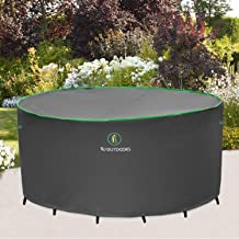 Outdoor Patio Furniture Covers, Waterproof UV Resistant Anti-Fading Cover for Medium Round Table Chairs Dining Set, Grey, ...