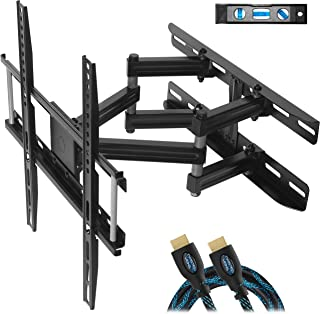 "Cheetah Mounts Dual Articulating Arm TV Wall Mount Bracket for 20-65"" TVs up to VESA 400 and 115lbs, Mounts on Studs up to 16"" and Includes a Twisted Veins 10' HDMI Cable & 6"" 3-Axis Magnetic Bubble"