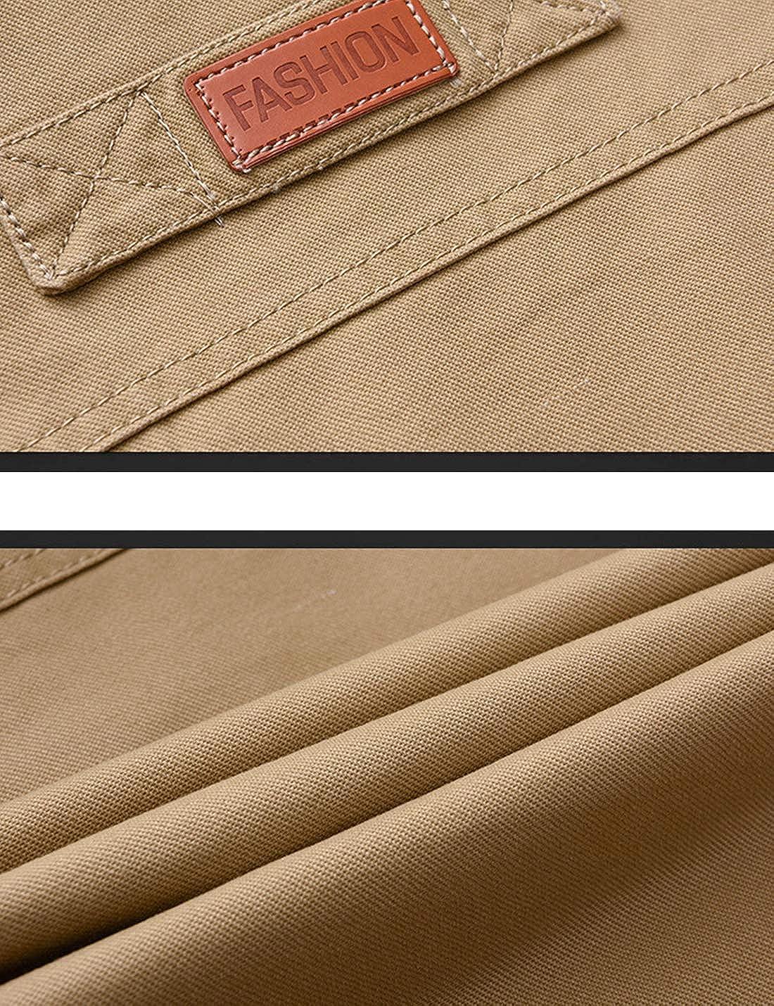 Jenkoon Mens Outdoor Cotton Vest Stand Collar Fleece Lined Fish Vest Jacket