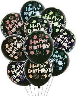 HOUZE LS-9484 Balloons (Set of 10) - Happy Birthday on Black