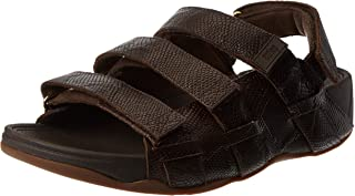 FITFLOP Ethan Croc Print Sandals, Men's Fashion Sandals, Brown (Chocolate Brown)