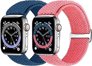 Runostrich Flätat Solo Loop armband kompatibelt med Apple Watch 44 mm 42 mm 40 mm 38 mm, vävt elastiskt ersättningsarmband...
