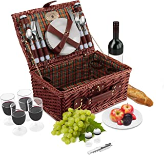 Wicker Picnic Basket Set   4 Person Deluxe Vintage Style Woven Willow Picnic Hamper Kit   Ceramic Plates, Stainless Steel Silverware, Wine Glasses, S/P Shakers, Bottle Opener (Green/Orange Lining)