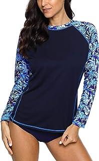ATTRACO Women's Swim Shirts Long Sleeve Rash Guard UPF 50 Sun Protection Swimsuit Top
