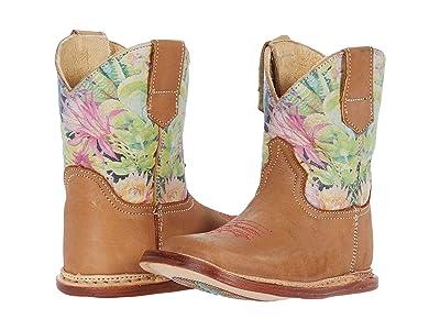 Roper Kids Cowbaby Prickly (Infant/Toddler) (Tan Nubuck Vamp/Cactus Shaft) Girls Shoes