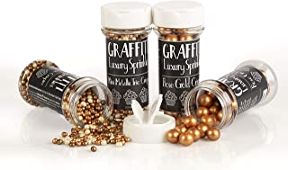 Jumbo Rose Gold Pearl Crispies (2.6 oz) and Mini Trio Metallic Crispies (2.5 oz) Edible Decorations for Baking, Ice Cream, Cake Decorating by Graffiti Sprinkles | 2-Pack