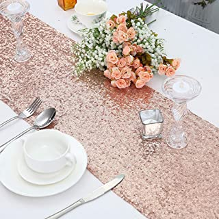 """Juya Delight 12"""" x 72"""" Rose Gold Sequin Table Runner for Party Dinner Banquet Festival Wedding Anniversary Exhibition Dessert Table"""